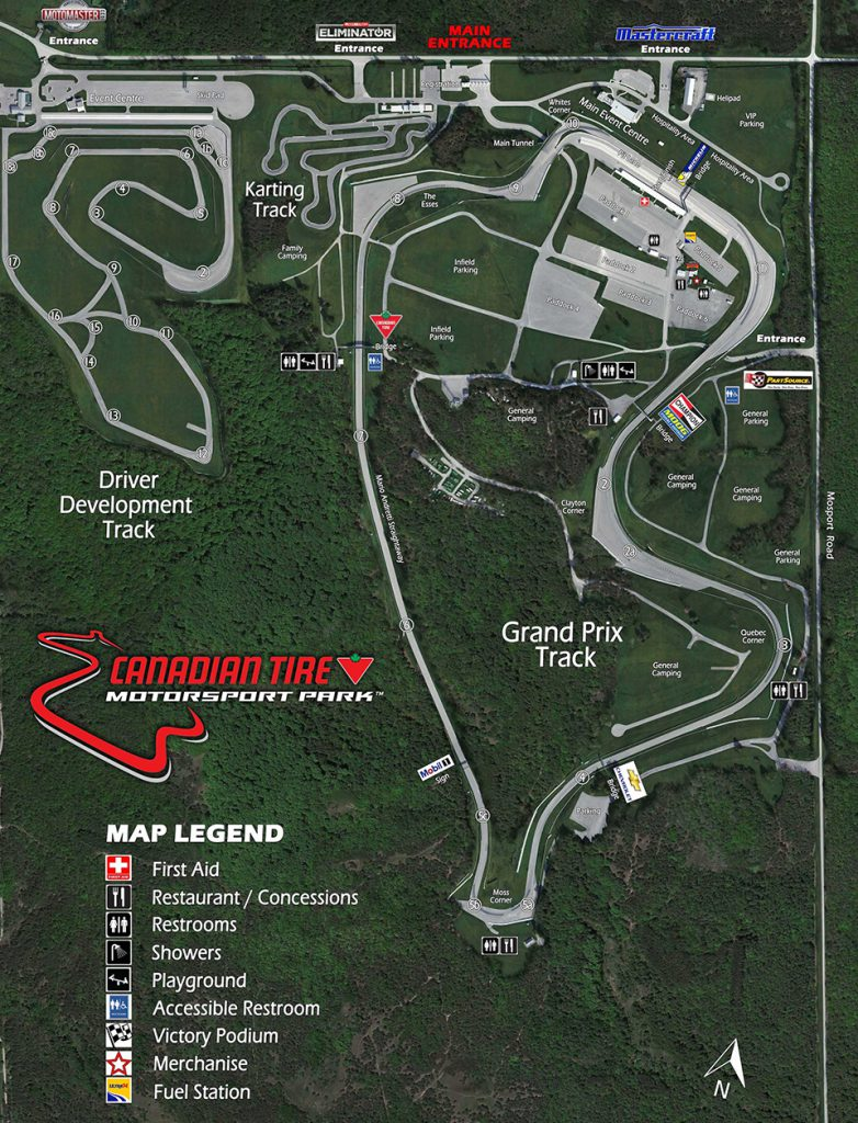 Map of the Canadian Tire Motorsports Park