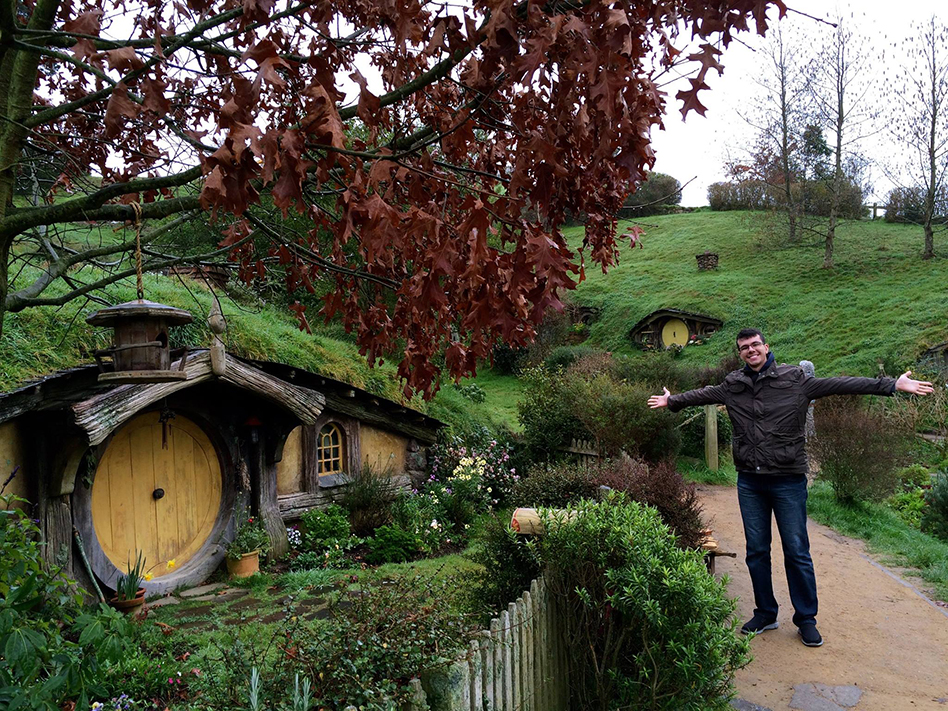 Victor at Hobbiton in New Zealand
