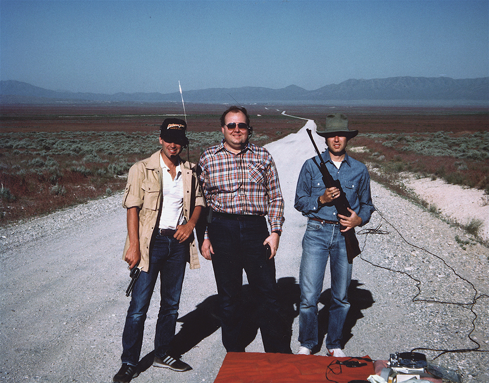 Recording ricochets in Utah desert with Ben Burtt (left) for Indiana Jones and the Last Crusade.